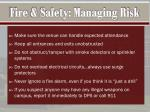 fire safety managing risk