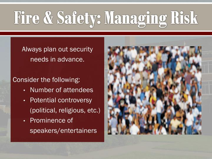 Fire & Safety: Managing Risk