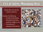 fire safety managing risk1