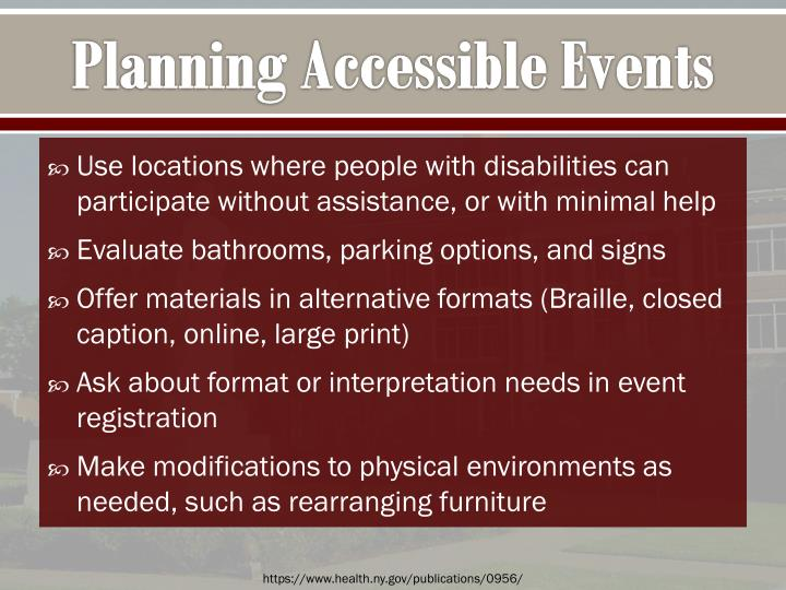 Planning Accessible Events
