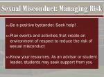 sexual misconduct managing risk