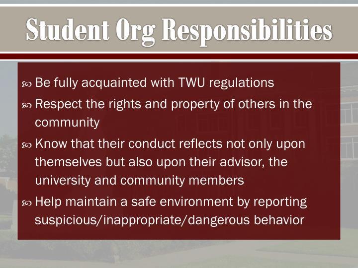Student Org Responsibilities