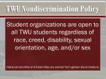 twu nondiscrimination policy