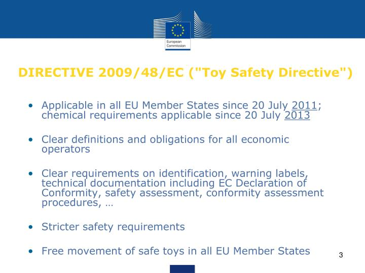 Directive 2009 48 ec toy safety directive