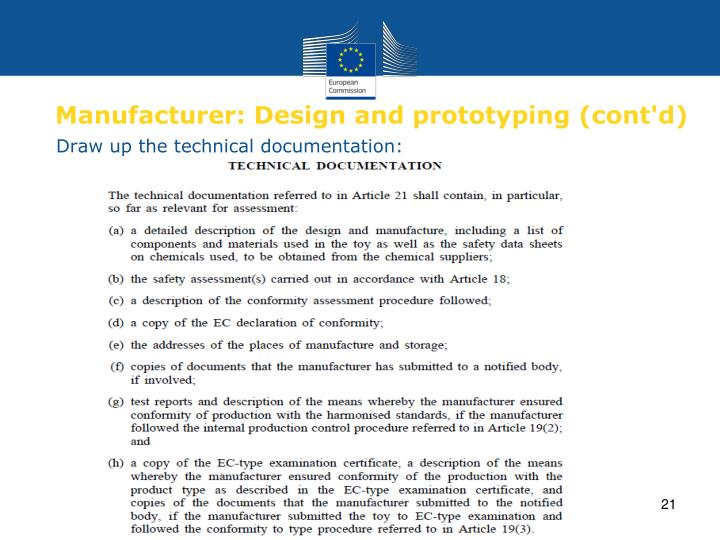 Manufacturer: Design and prototyping (cont'd)