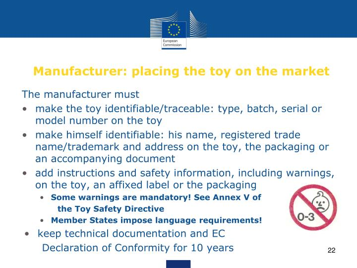 Manufacturer: placing the toy on the market