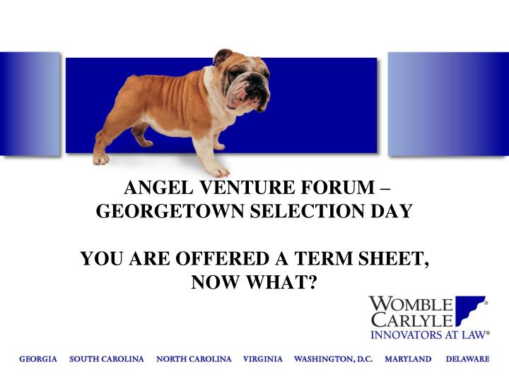 Angel venture forum georgetown selection day you are offered a term sheet now what