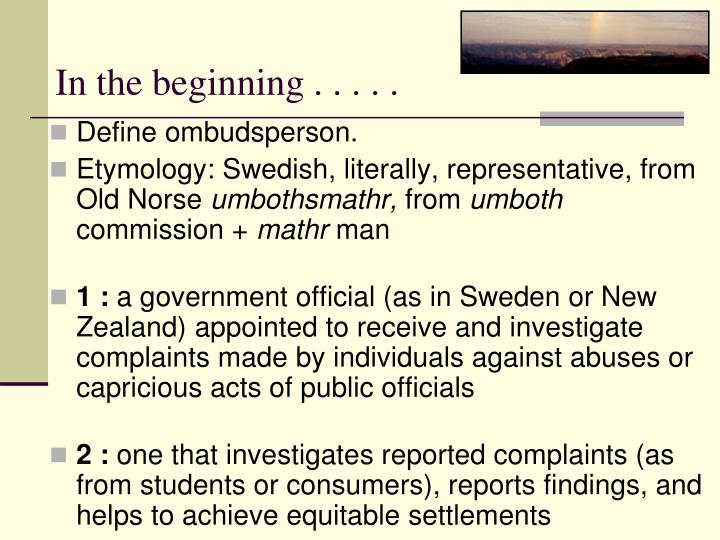 In the beginning . . . . .