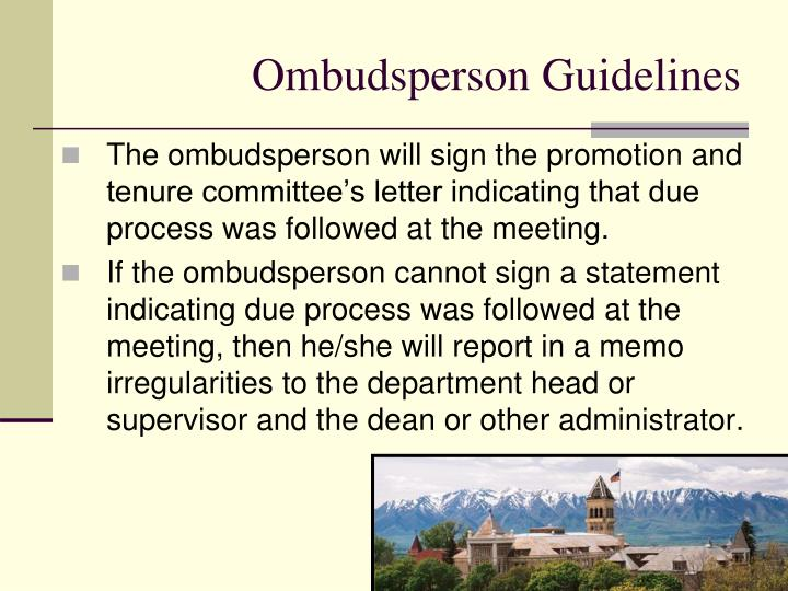 Ombudsperson Guidelines