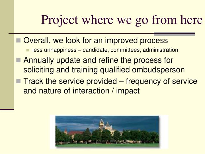 Project where we go from here