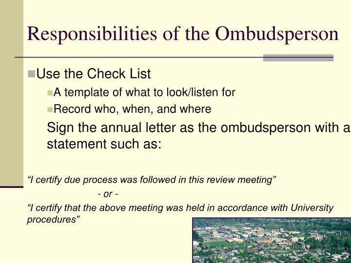 Responsibilities of the Ombudsperson