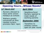 opening hours whose needs