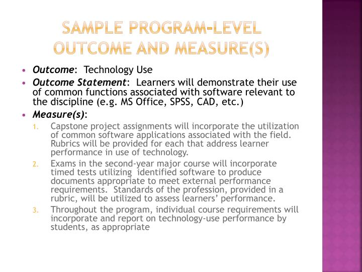 Sample Program-Level Outcome and Measure(s)