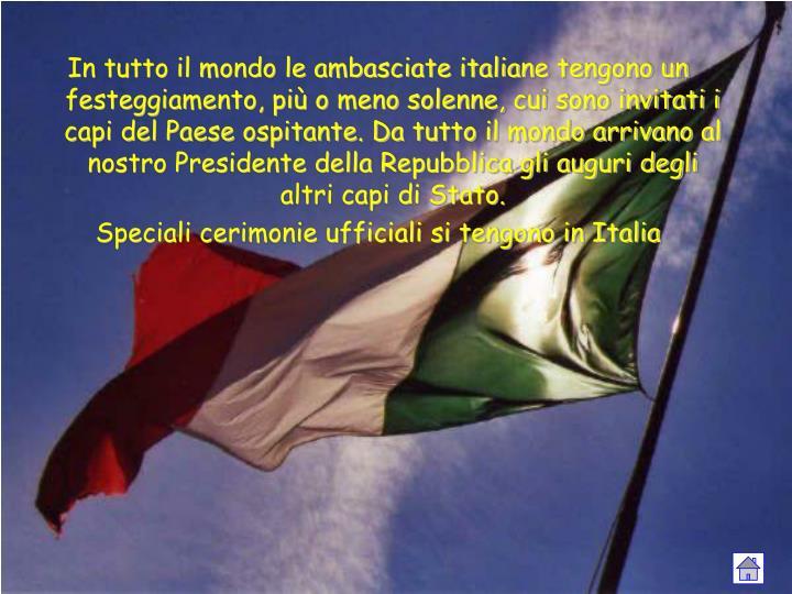 In tutto il mondo le ambasciate italiane tengono un festeggiamento, più o meno solenne, cui sono invitati i capi del Paese ospitante. Da tutto il mondo arrivano al nostro Presidente della Repubblica gli auguri degli altri capi di Stato.