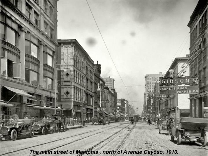 The main street of Memphis , north of Avenue Gayoso, 1910.