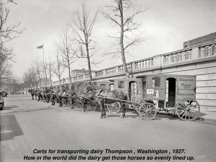 Carts for transporting dairy Thompson , Washington , 1927.