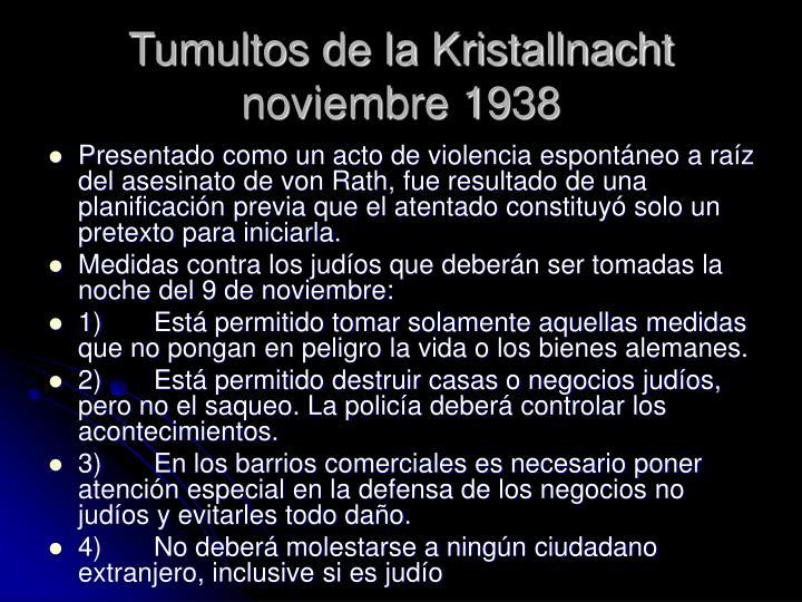 Tumultos de la Kristallnacht