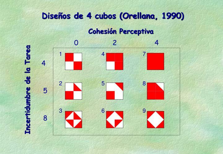 Diseños de 4 cubos (Orellana, 1990)