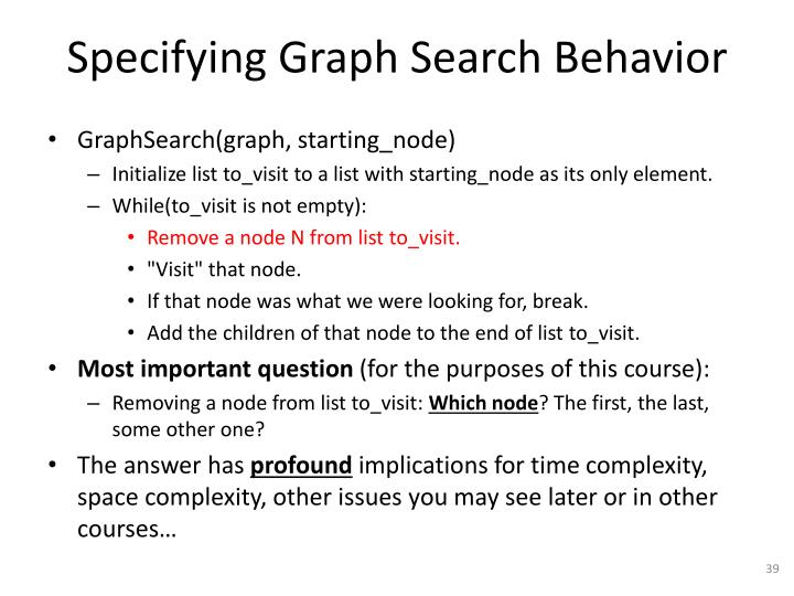 Specifying Graph Search Behavior