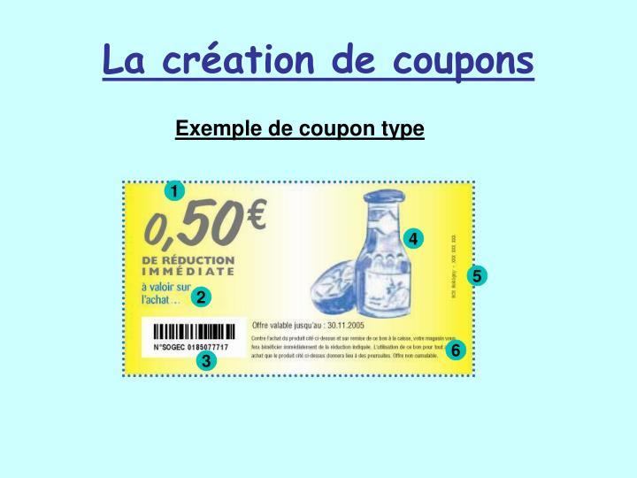 La création de coupons
