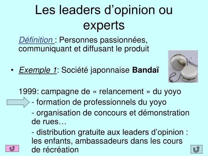 Les leaders d'opinion ou experts