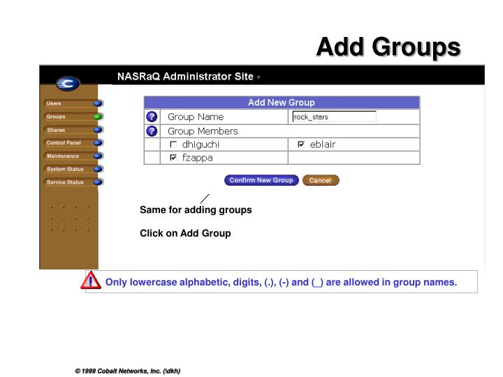 Only lowercase alphabetic, digits, (.), (-) and (_) are allowed in group names.