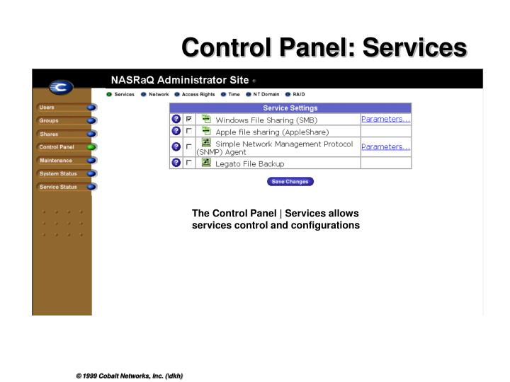 Control Panel: Services