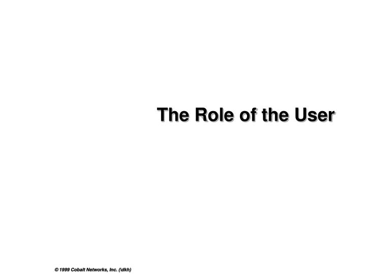 The Role of the User