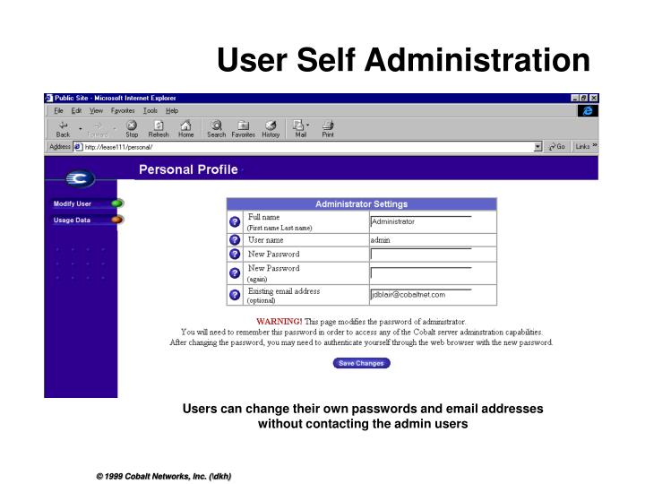 User Self Administration
