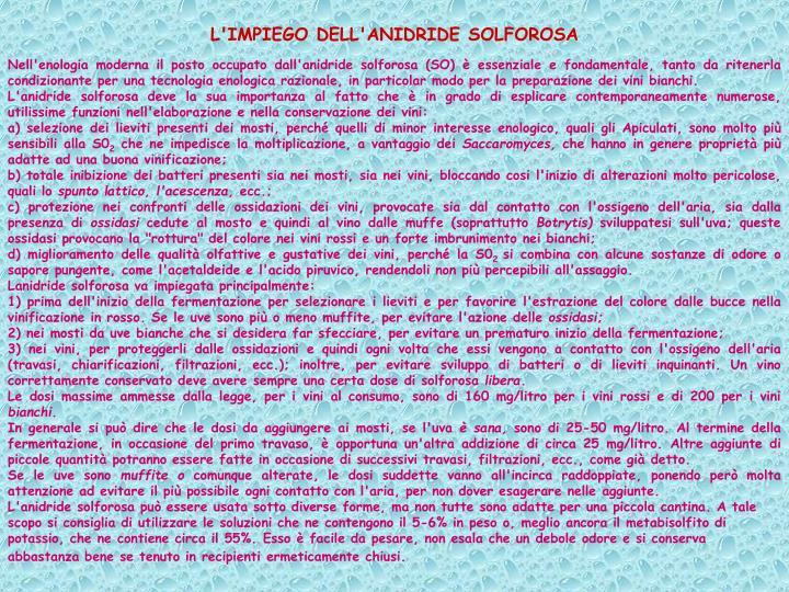 L'IMPIEGO DELL'ANIDRIDE SOLFOROSA