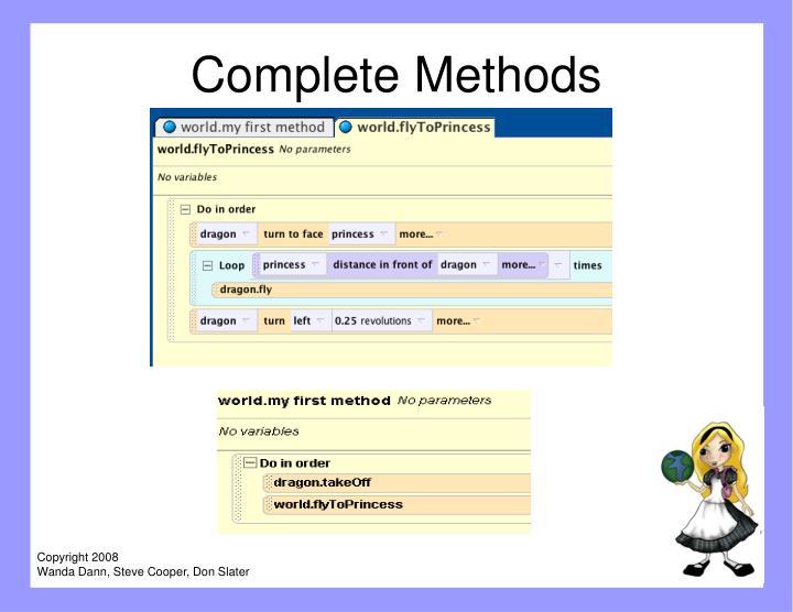 Complete Methods