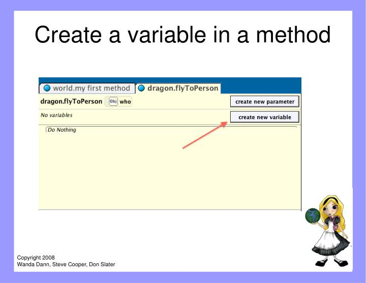 Create a variable in a method