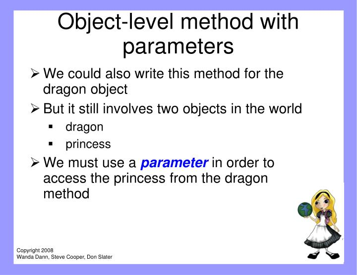 Object-level method with parameters
