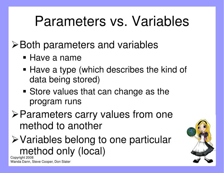 Parameters vs. Variables