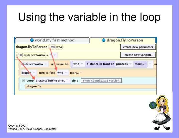 Using the variable in the loop