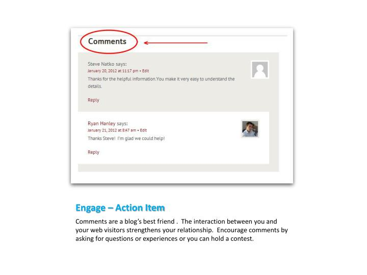 Engage – Action Item