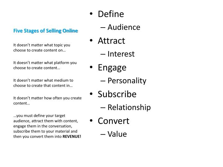 Five Stages of Selling Online