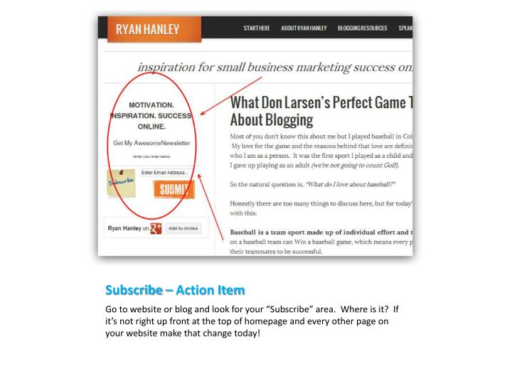 Subscribe – Action Item