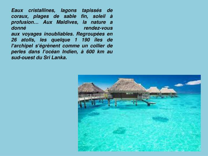 Eaux cristallines, lagons tapissés de coraux, plages de sable fin, soleil à profusion… AuxMaldives, la nature a donné rendez-vous auxvoyagesinoubliables. Regroupées en 26 atolls, les quelque 1190 îles de l'archipel s'égrènent comme un collier de perles dans l'océan Indien, à 600 km au sud-ouest du Sri Lanka.