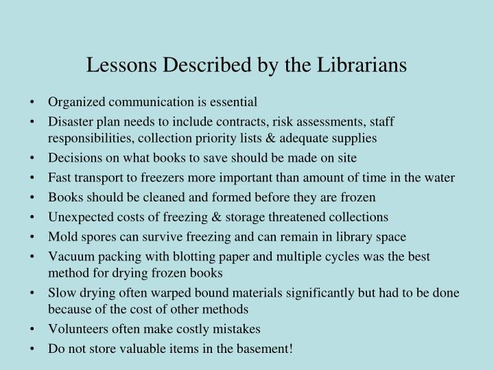 Lessons Described by the Librarians