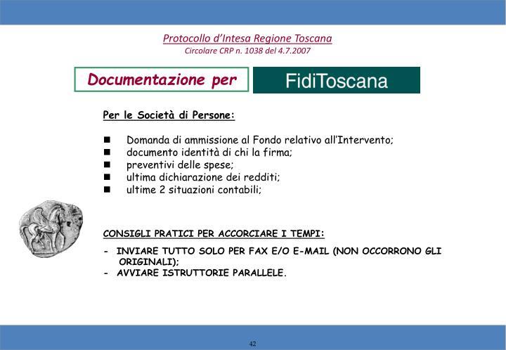 Protocollo d'Intesa Regione Toscana