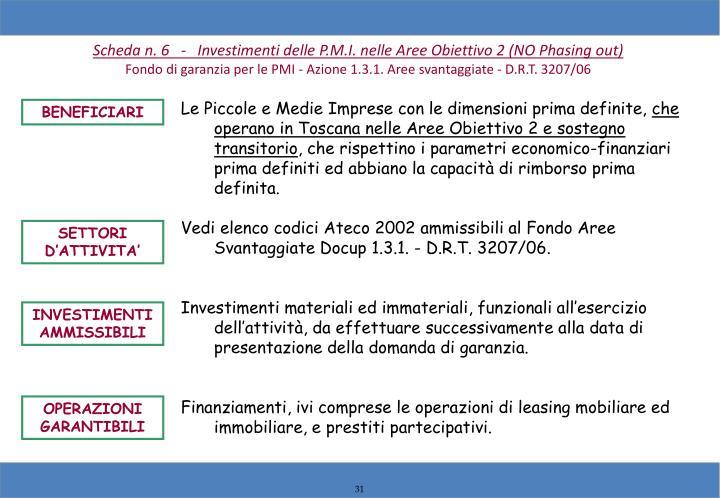 Scheda n. 6   -   Investimenti delle P.M.I. nelle Aree Obiettivo 2 (NO Phasing out)