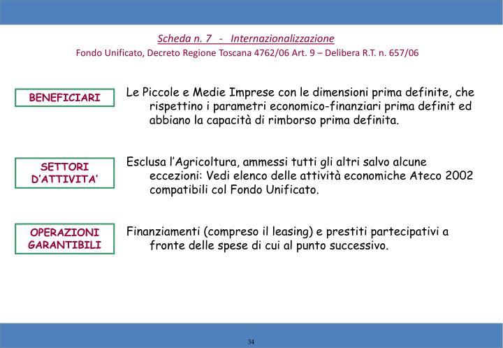 Scheda n. 7   -   Internazionalizzazione