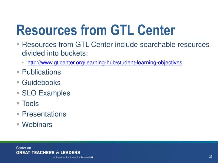 Resources from GTL Center
