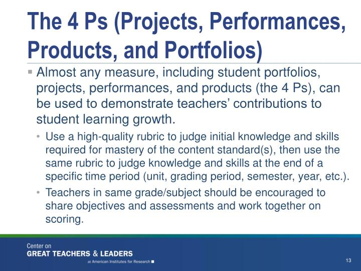 The 4 Ps (Projects, Performances, Products, and Portfolios)