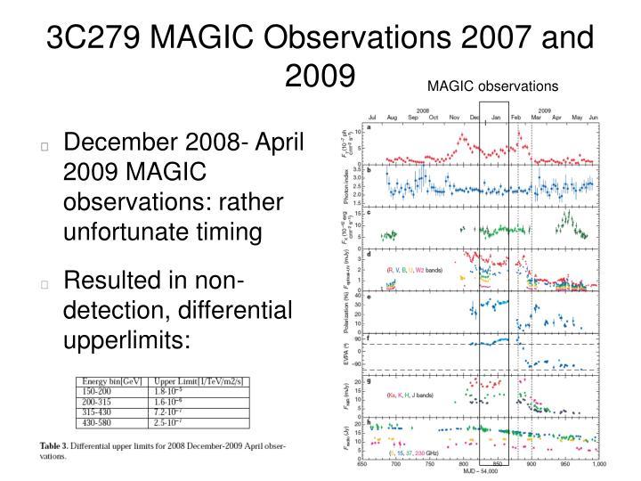 3C279 MAGIC Observations 2007 and 2009