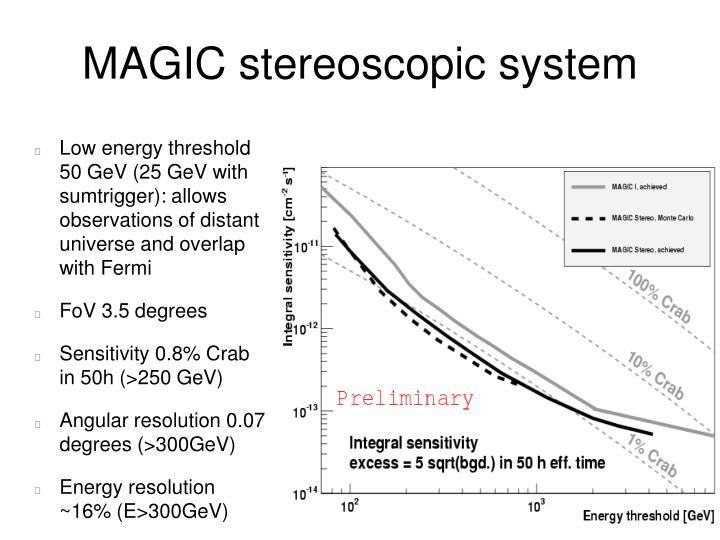 MAGIC stereoscopic system