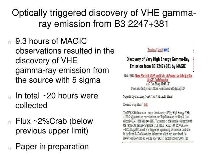 Optically triggered discovery of VHE gamma-ray emission from B3 2247+381