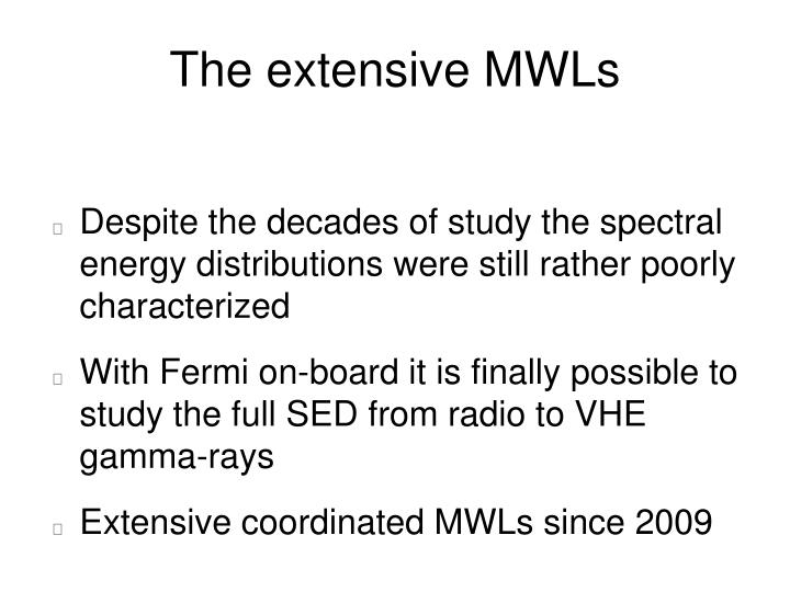 The extensive MWLs
