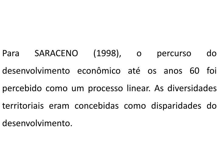 Para SARACENO (1998), o percurso do desenvolvimento econômico até os anos 60 foi percebido como um processo linear. As diversidades territoriais eram concebidas como disparidades do desenvolvimento.